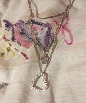 3 chain necklace   Heart and charm   Worn once in excellent condition