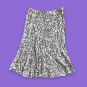 Sage green and pink floral fairy midi skirt