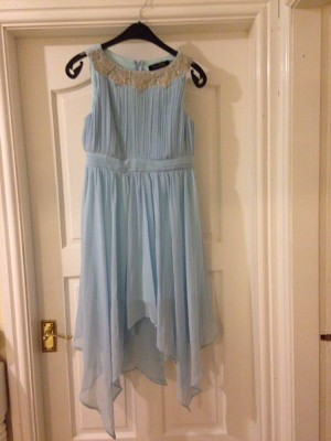 Baby blue sparkly mid length dress