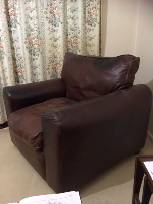 Brown Leather solid Armchair