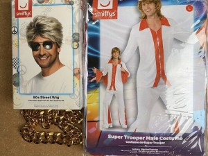 TWO ABBA MENS OUTFITS . Large . One wig + two flared trousers , two