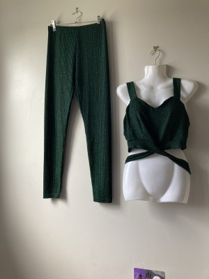 Shein green crop top and leggings co or M