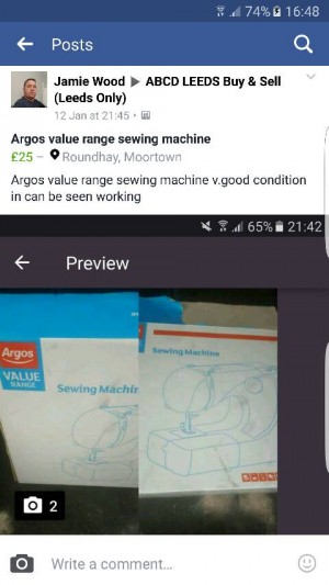 argos value range sewing machine