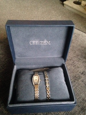 BRAND NEW never been worn gold/silver diamond encrusted CITIZEN watch and bracelet set