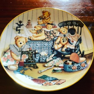 Franklin Mint Teddy Bear Sewing Circle Plate By Nita Showers Limited E