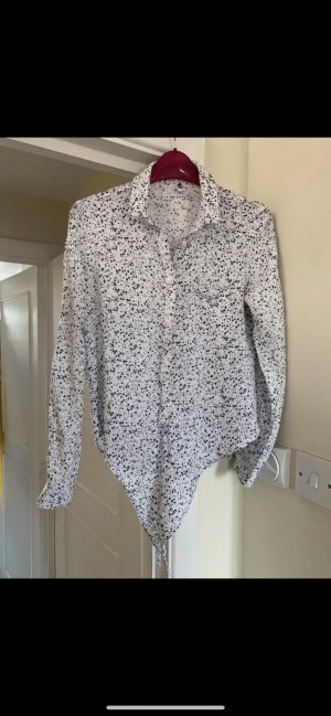 CCP Basics tie front white blouse with black and grey star print