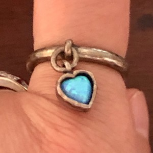Antique 925 Silver African Blue Fire Opal Heart Dangling Ring Size N