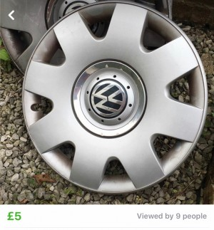 VW silver hubcaps ONLY 3
