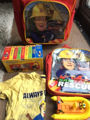 Fireman Sam  stuff ( Books, DVD,Suitcase ,Backpack  , little toy and s