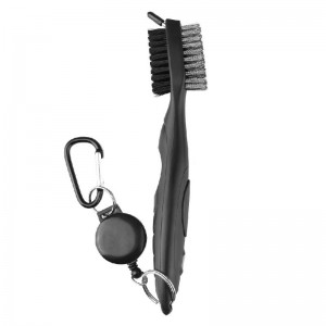 Golf Club Cleaning Tool Groove Brush Cleaner for Iron Wood Clubs-Black