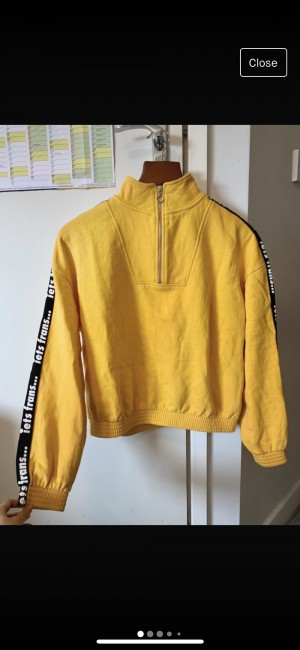 Urban Outfitters/Iets frans - yellow logo sleeve track top size S