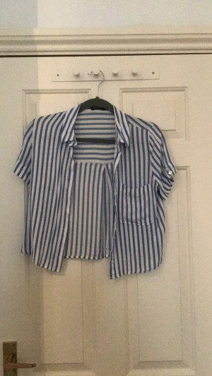 Blue and white blouse from Bershka size small