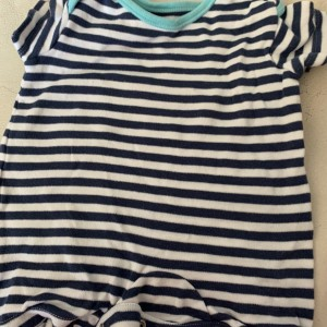 Baby boy's George navy and white stripe sleep suit size first size