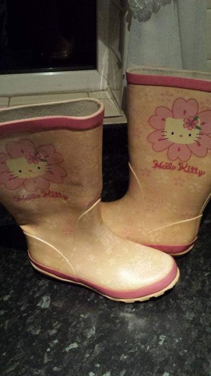 Pale pink wellies