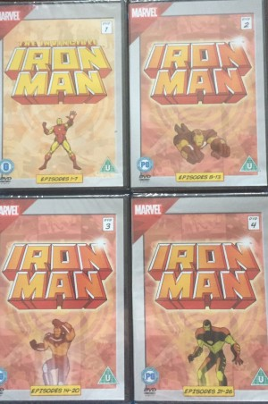 x4 marvel iron man DVD's discs  1-4 brand new and factory sealed