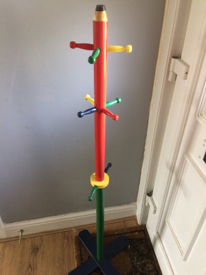 Wooden pencil kids coat stand