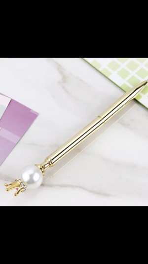 New Style Pearl Crown Metal Ballpoint Pen Spinning Oil Ball Pen