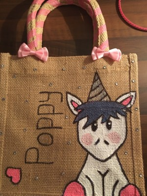 small unicorn jute bag
