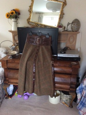 Joey D Tweed and leather skirt