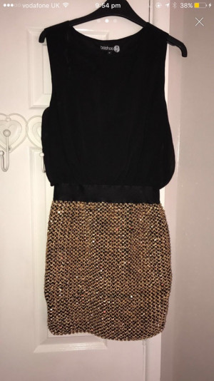 Boohoo black n gold dress size 10