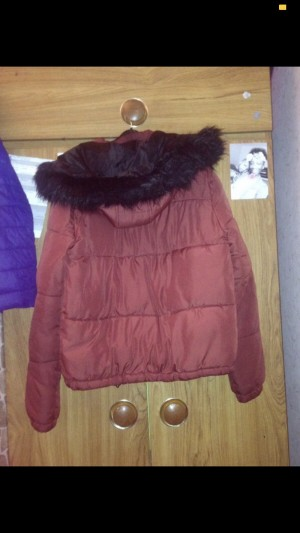 Burgundy Puffer Coat. Size 8