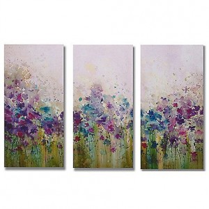 Large 3 piece purple meadow wall canvas