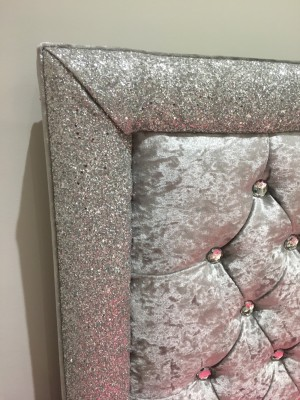 Grey crushed velvet glitter trim double size bed