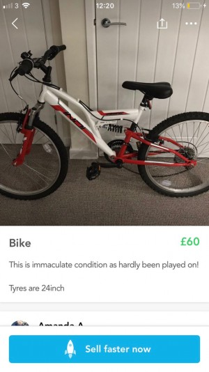 junior/adult bike hardly used immaculate condition tyre size on pictur