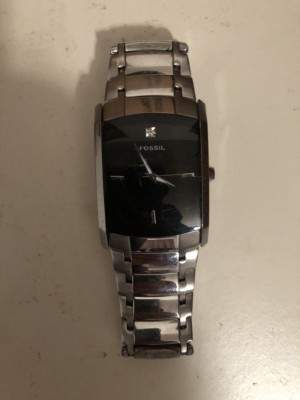 Fossil Watch sliver & black with diamond