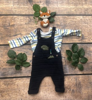 Baby boys knit look Dino dungarees 0-3