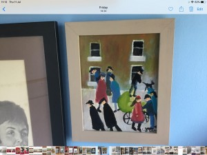 Oil painting on canvas signed after L S Lowry 11am 9am