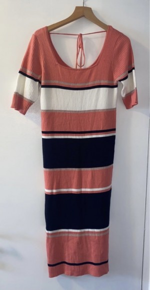 NEXT midi coral and white and black dress