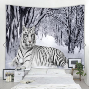 Fabric Wall Tapestry/Throw White Tiger 59 x 51 Inches Free P+P