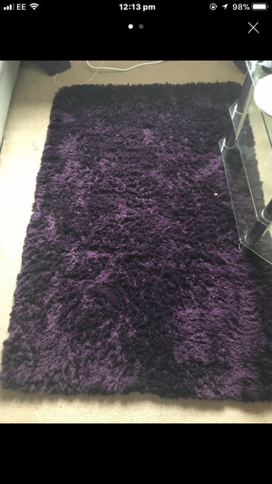 Purple shaggy rug