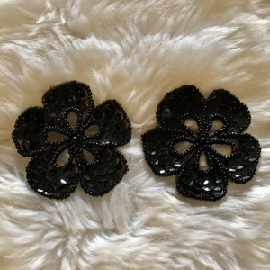 Pair of Black Flower Sequinned Beaded Patch New