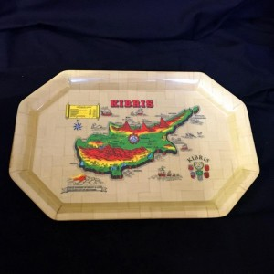 Historical Map Illustrated Cyprus Island Tray