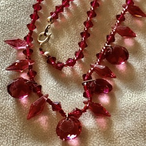 Vintage Red Crystal Glass Plastic Bead Necklace
