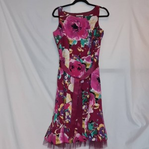 Size 12 UK Midi BHS Pink and Red and Pink, Midi Floral Formal Dress