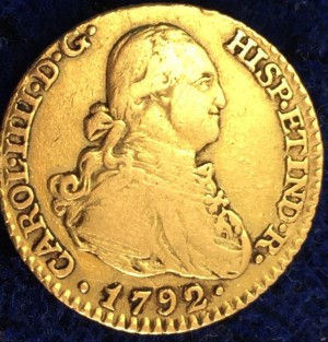 King Charles IV 22ct Gold 1 Escudo Spanish Colonial Gold Coin Doubloon 1792.