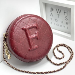 Embossed Letter F Bag in Burgundy