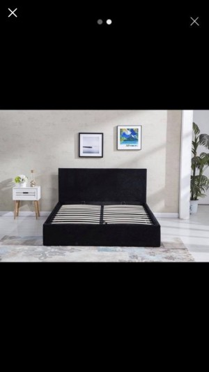 Black, silver and gold crushed velvet 5ft king size ottoman bed