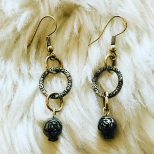Boho Silver Tone Rose On Hoops Pierced Earrings Party Holiday Costume