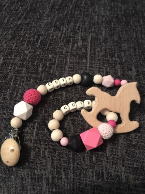 Baby girl personalised dummy clip and teether gift set rocking horse edition