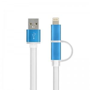 2 in 1 Charging Cable USB Data Cable for iPhone Android Phones - Blue