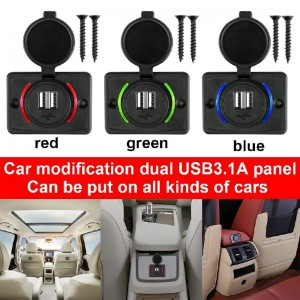 3.1A Dual USB Car Charger Adapter Power Socket Charging Panel - Red