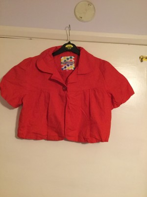 Girls Red Cropped Short Sleeved Summer Jacket - Aged 12-13 Years