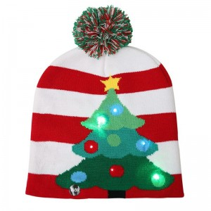 LED Light Knitted Christmas Warm Hat New Year Party Decoration Adult
