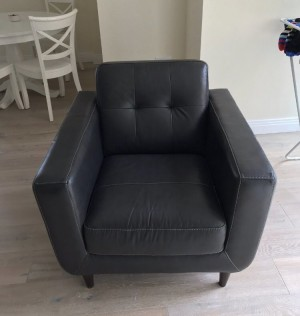 single black leather arm chair