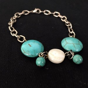 Turquoise & Mother of Pearl Rustic Bracelet