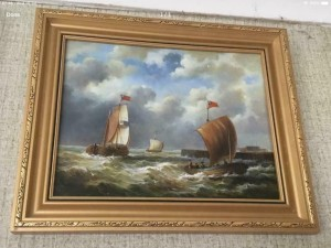 Antique oil painting on panel 3 sailing boats on choppie waters